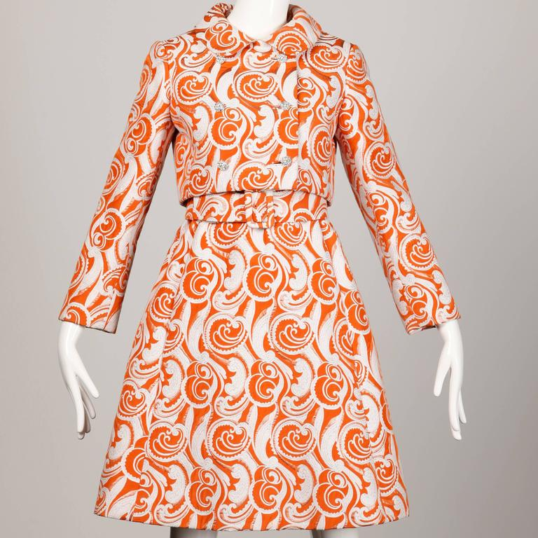 Teal Traina 1960 Vintage Orange Brocade Jacket, Belt + Dress 3-Piece Ensemble 5
