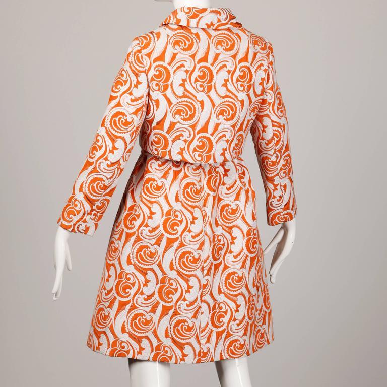 Teal Traina 1960 Vintage Orange Brocade Jacket, Belt + Dress 3-Piece Ensemble 9