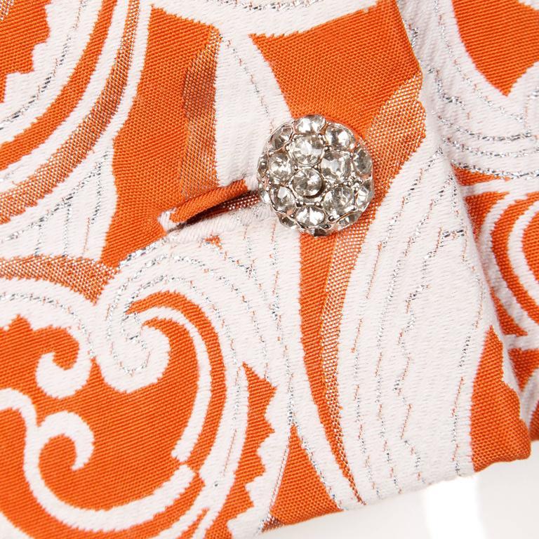 Teal Traina 1960 Vintage Orange Brocade Jacket, Belt + Dress 3-Piece Ensemble 8