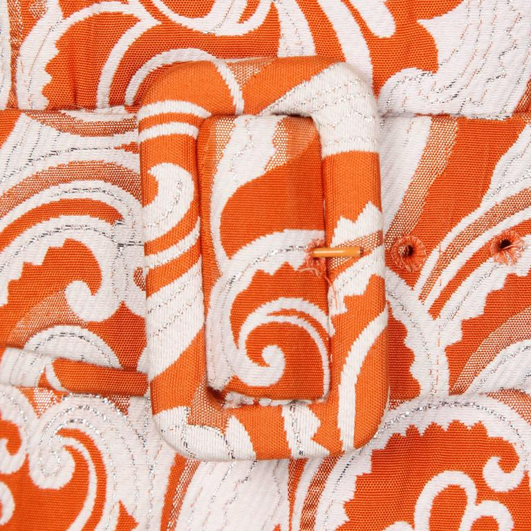 Teal Traina 1960 Vintage Orange Brocade Jacket, Belt + Dress 3-Piece Ensemble 6