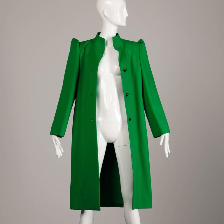 Galanos 1980s Vintage Avant Garde Kelly Green Wool Coat with Bold Shoulders 4
