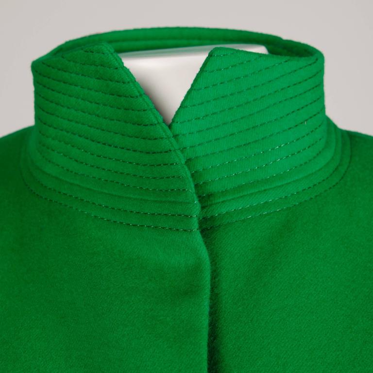 Galanos 1980s Vintage Avant Garde Kelly Green Wool Coat with Bold Shoulders 5