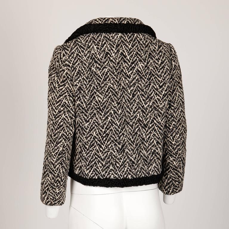 Women's Ben Zuckerman 1960s Vintage Wool Tweed Jacket with Persian Lamb Fur Trim For Sale