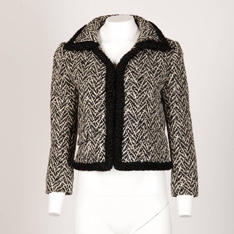 Black Ben Zuckerman 1960s Vintage Wool Tweed Jacket with Persian Lamb Fur Trim For Sale