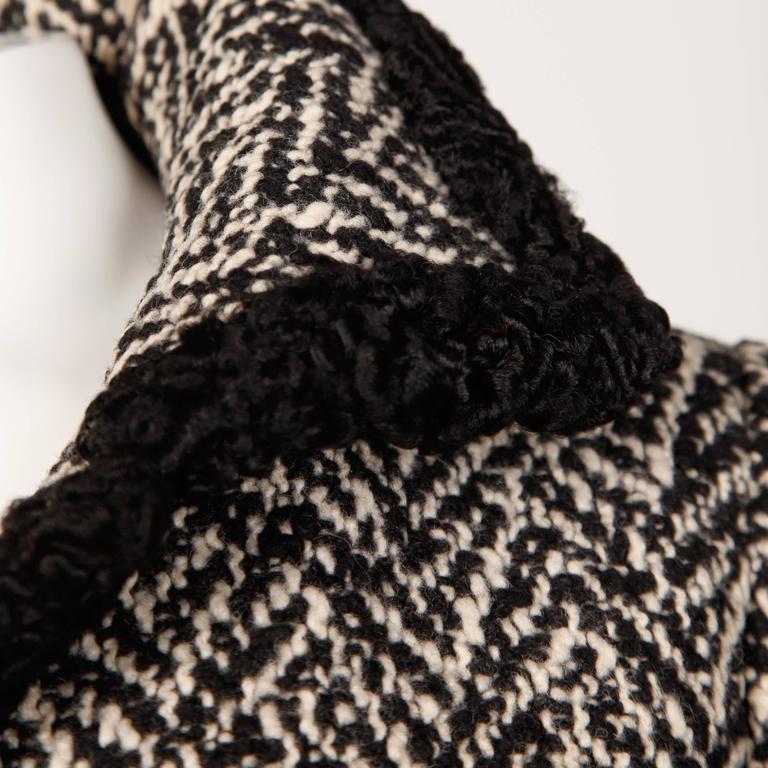 Ben Zuckerman 1960s Vintage Wool Tweed Jacket with Persian Lamb Fur Trim For Sale 1