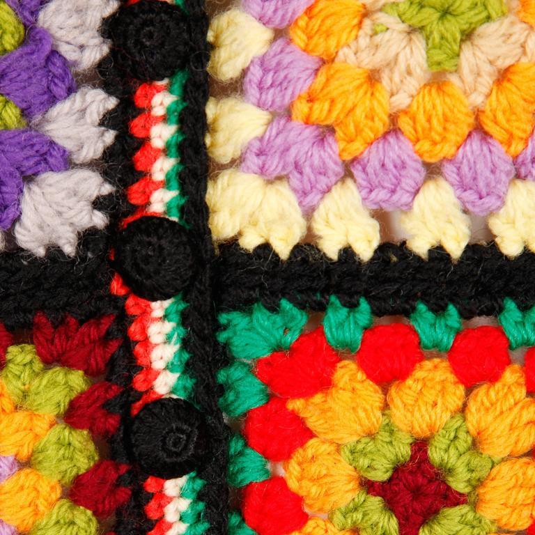 Adolfo for I. Magnin 1970s Vintage Wool Granny Squares Hand Crochet Vest Top 5