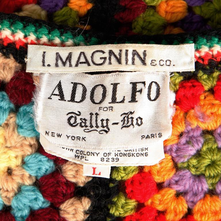 Adolfo for I. Magnin 1970s Vintage Wool Granny Squares Hand Crochet Vest Top 3