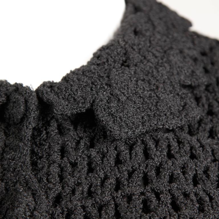 1960s Vintage Black Wool Hand Crochet Dress For Sale 1