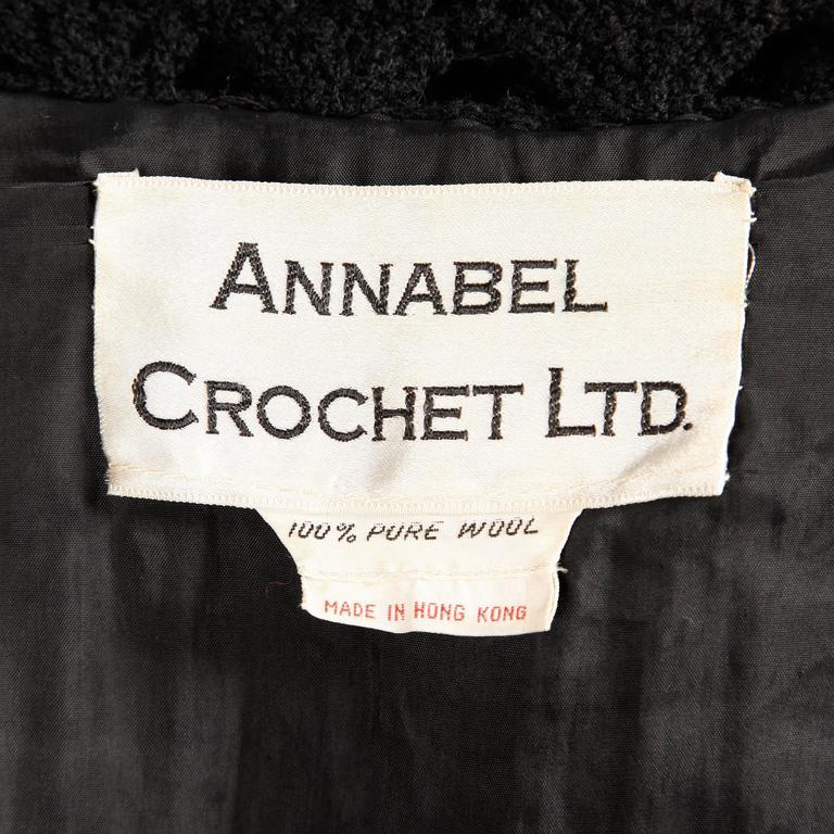 Women's 1960s Vintage Black Wool Hand Crochet Dress For Sale