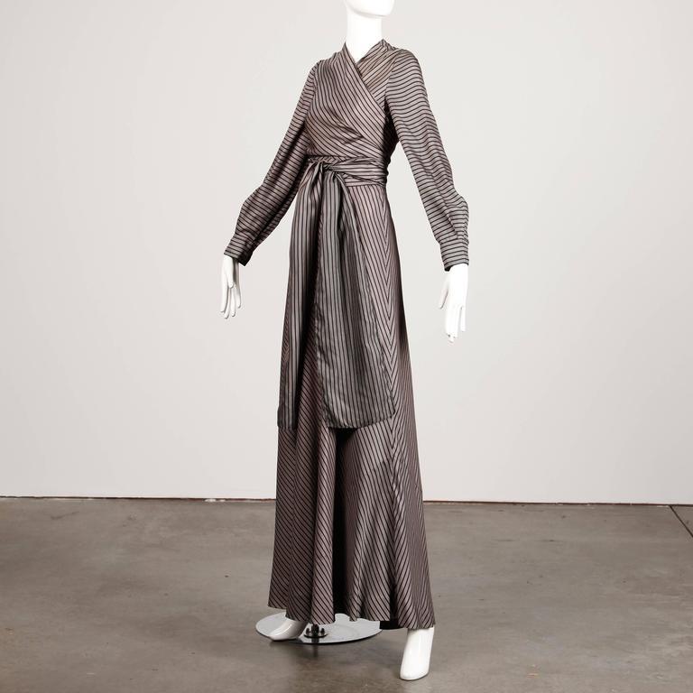 Jean Patou 1970s Vintage Silk Striped Wrap Top + Maxi Skirt Dress Ensemble 9