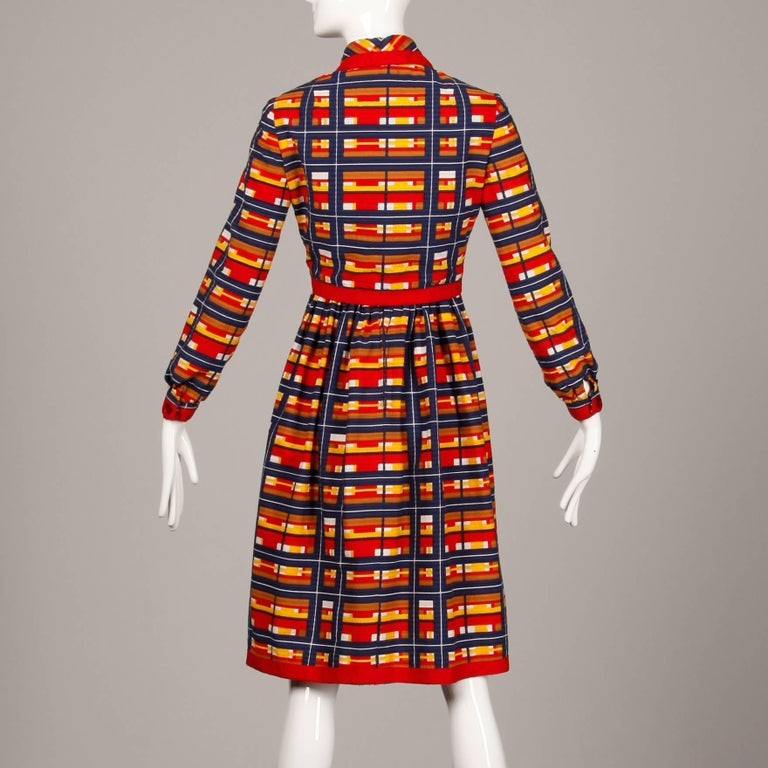 1970s Vintage Oscar de la Renta Matching Plaid Dress + Jacket Ensemble For Sale 1
