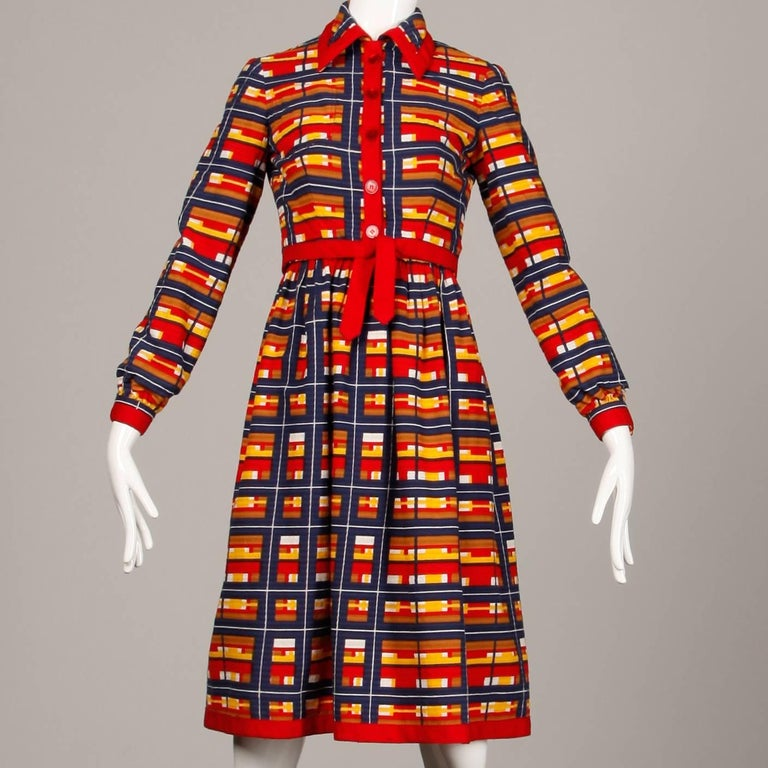 1970s Vintage Oscar de la Renta Matching Plaid Dress + Jacket Ensemble In Excellent Condition For Sale In Sparks, NV