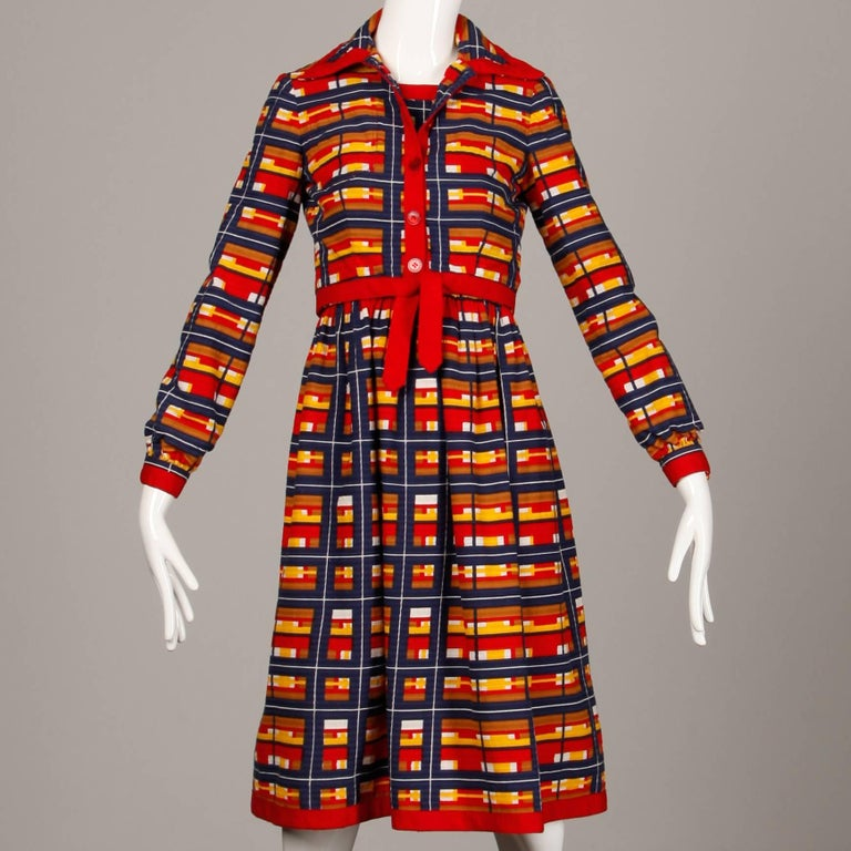 1970s Vintage Oscar de la Renta Matching Plaid Dress + Jacket Ensemble For Sale 5
