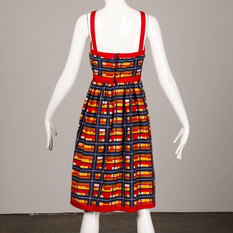 Women's 1970s Vintage Oscar de la Renta Matching Plaid Dress + Jacket Ensemble For Sale
