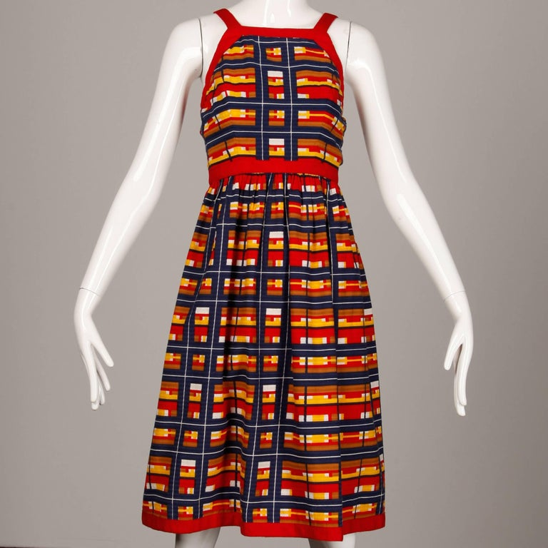 Red 1970s Vintage Oscar de la Renta Matching Plaid Dress + Jacket Ensemble For Sale