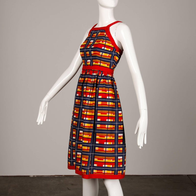 1970s Vintage Oscar de la Renta Matching Plaid Dress + Jacket Ensemble For Sale 2
