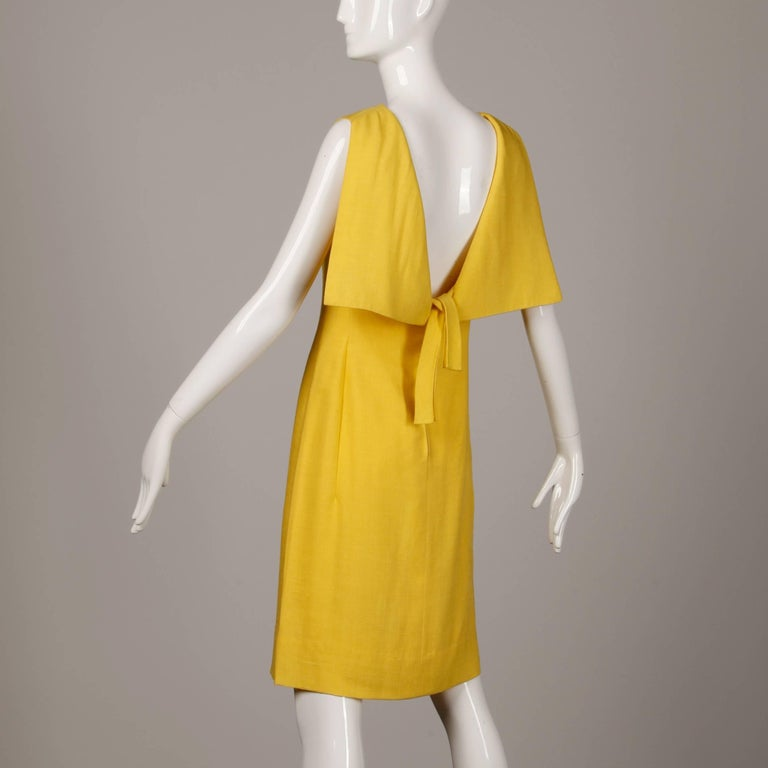 Pauline Trigere 1960s Vintage Yellow Silk + Wool Cape Sheath Dress 4