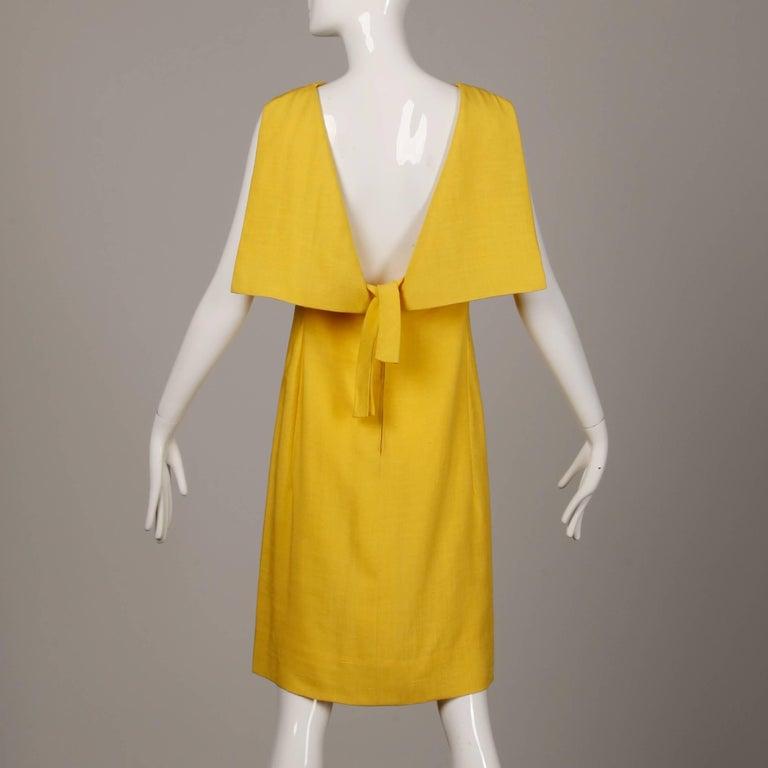 Pauline Trigere 1960s Vintage Yellow Silk + Wool Cape Sheath Dress 6