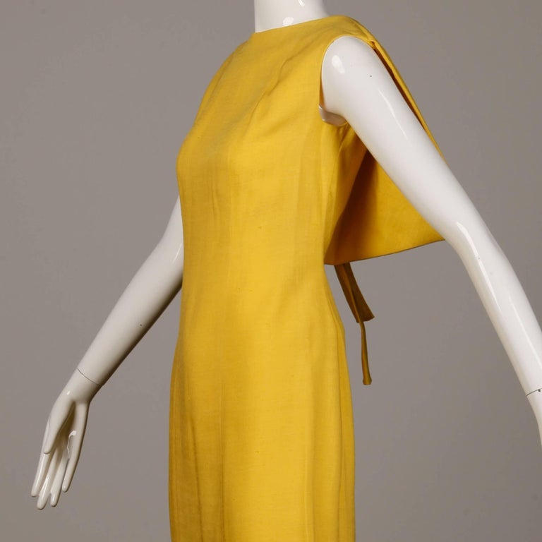 Pauline Trigere 1960s Vintage Yellow Silk + Wool Cape Sheath Dress 5