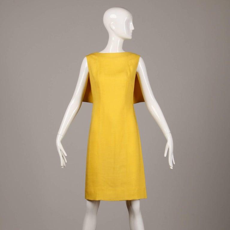 Pauline Trigere 1960s Vintage Yellow Silk + Wool Cape Sheath Dress 2