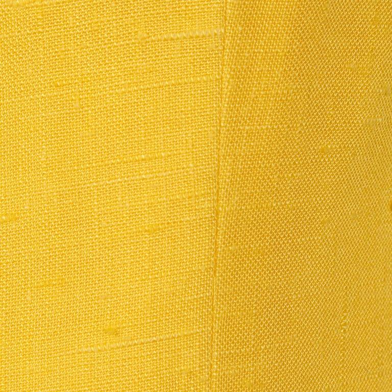 Pauline Trigere 1960s Vintage Yellow Silk + Wool Cape Sheath Dress 8