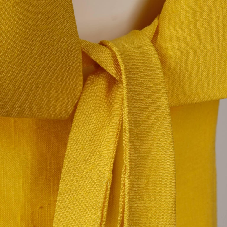 Pauline Trigere 1960s Vintage Yellow Silk + Wool Cape Sheath Dress 7