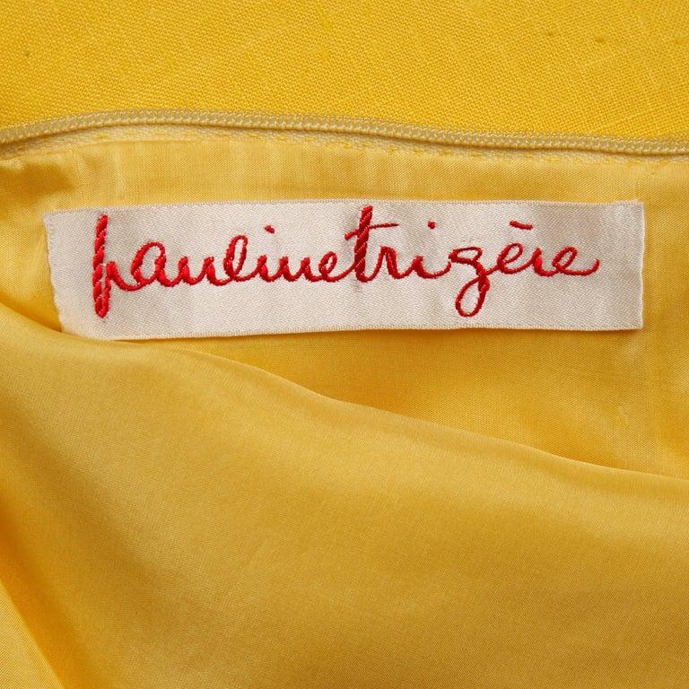 Pauline Trigere 1960s Vintage Yellow Silk + Wool Cape Sheath Dress 3