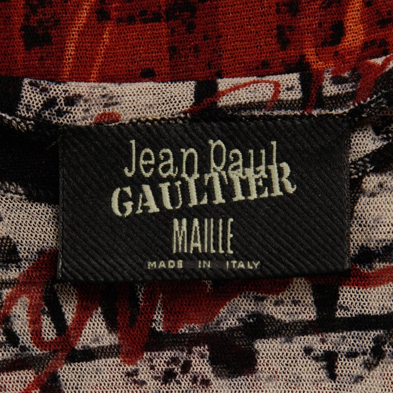"1990s Vintage Jean Paul Gaultier Sheer Mesh ""Racism"" Print Top or Shirt 2"