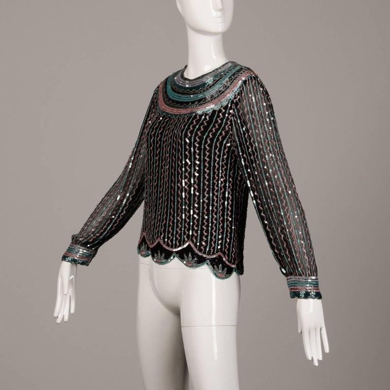Judith Ann Vintage Black Silk Sequin + Beaded Scalloped Dress Top or Shirt 2