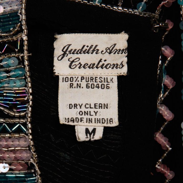 Judith Ann Vintage Black Silk Sequin + Beaded Scalloped Dress Top or Shirt 3