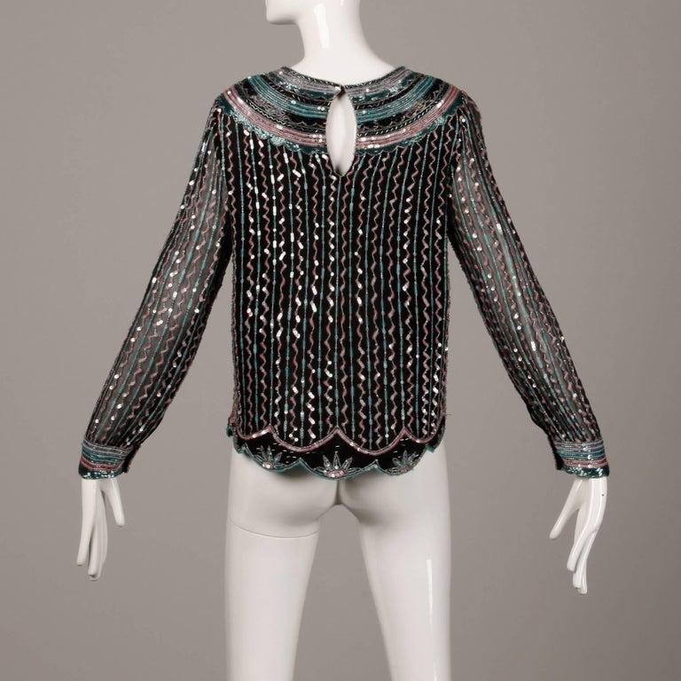 Judith Ann Vintage Black Silk Sequin + Beaded Scalloped Dress Top or Shirt 6