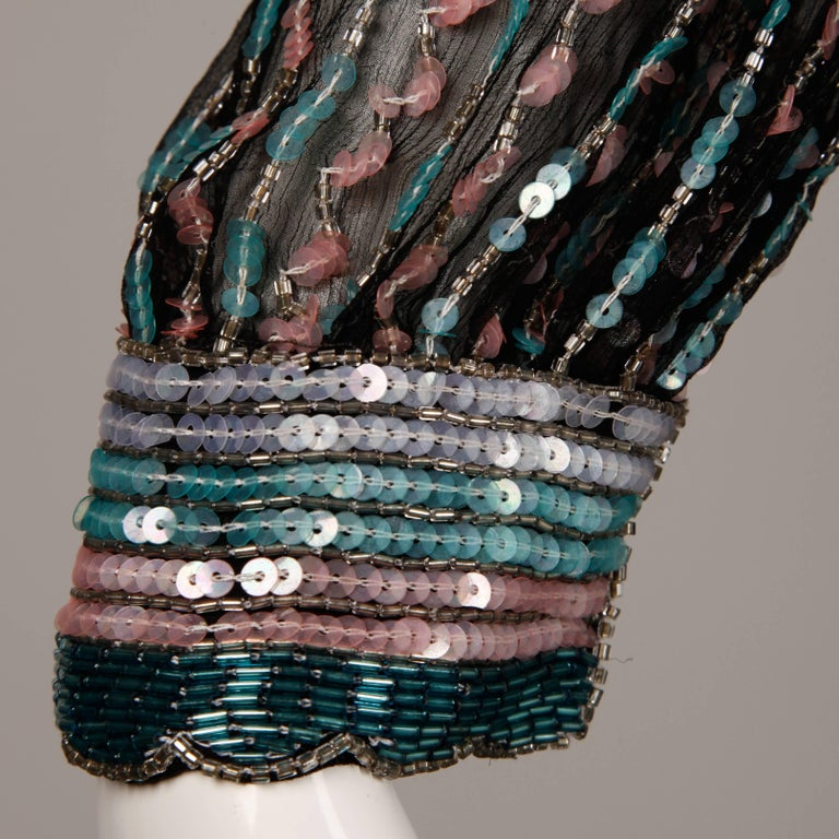 Judith Ann Vintage Black Silk Sequin + Beaded Scalloped Dress Top or Shirt For Sale 3