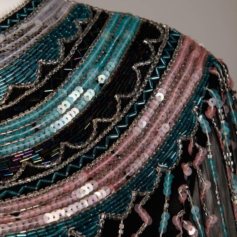 Judith Ann Vintage Black Silk Sequin + Beaded Scalloped Dress Top or Shirt 8