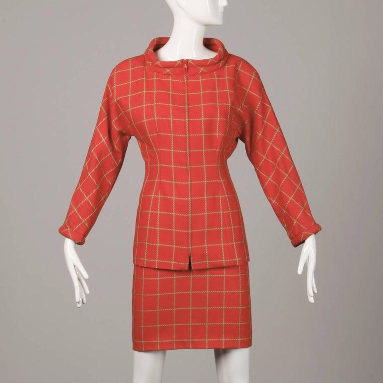 Red 1980s Bernard Perris Vintage Wool/ Cashmere Jacket + Skirt Suit Ensemble For Sale