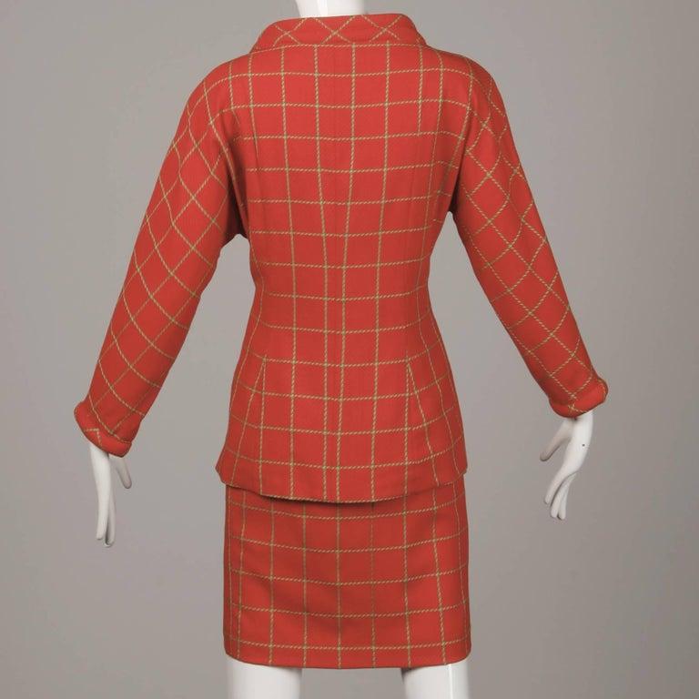 1980s Bernard Perris Vintage Wool/ Cashmere Jacket + Skirt Suit Ensemble For Sale 5