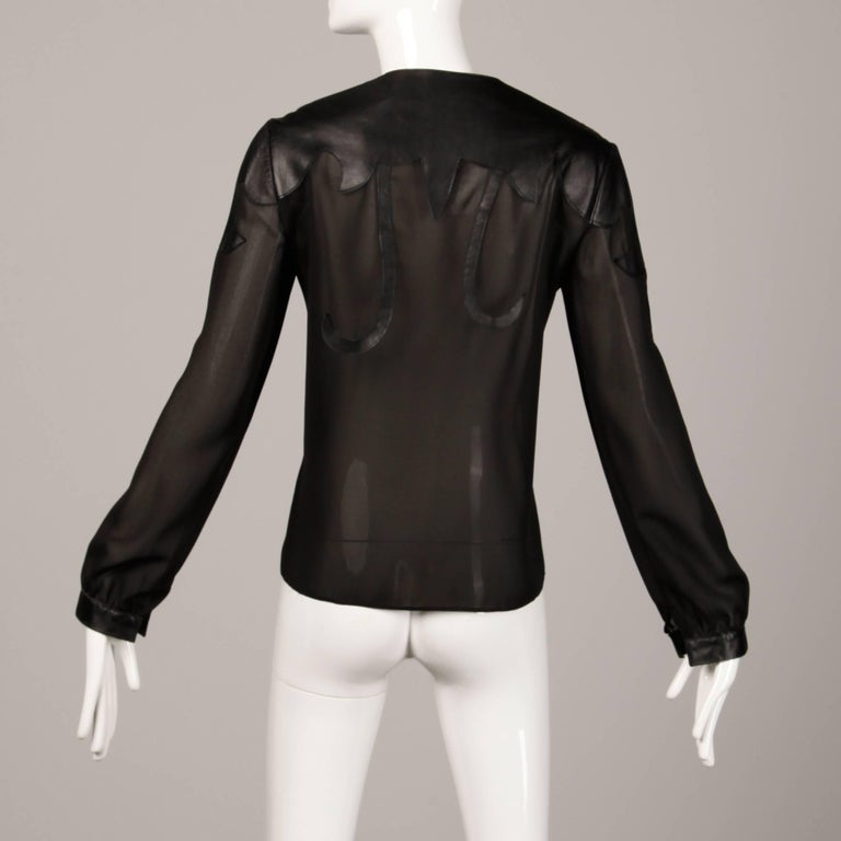 Giorgio Sant'Angelo 1970s Vintage Black Leather Patchwork Blouse, Top or Shirt For Sale 2