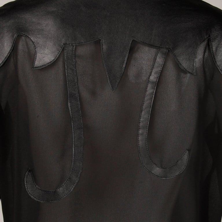 Women's Giorgio Sant'Angelo 1970s Vintage Black Leather Patchwork Blouse, Top or Shirt For Sale