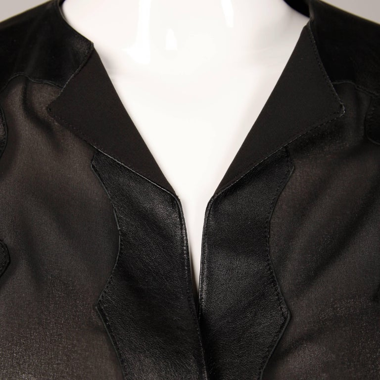 Giorgio Sant'Angelo 1970s Vintage Black Leather Patchwork Blouse, Top or Shirt For Sale 3