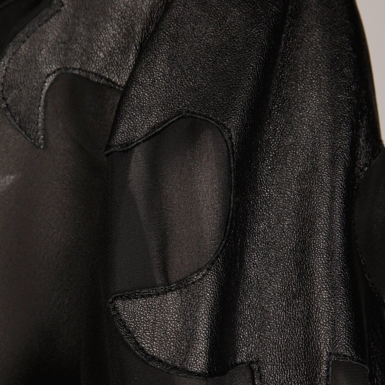 Giorgio Sant'Angelo 1970s Vintage Black Leather Patchwork Blouse, Top or Shirt 8