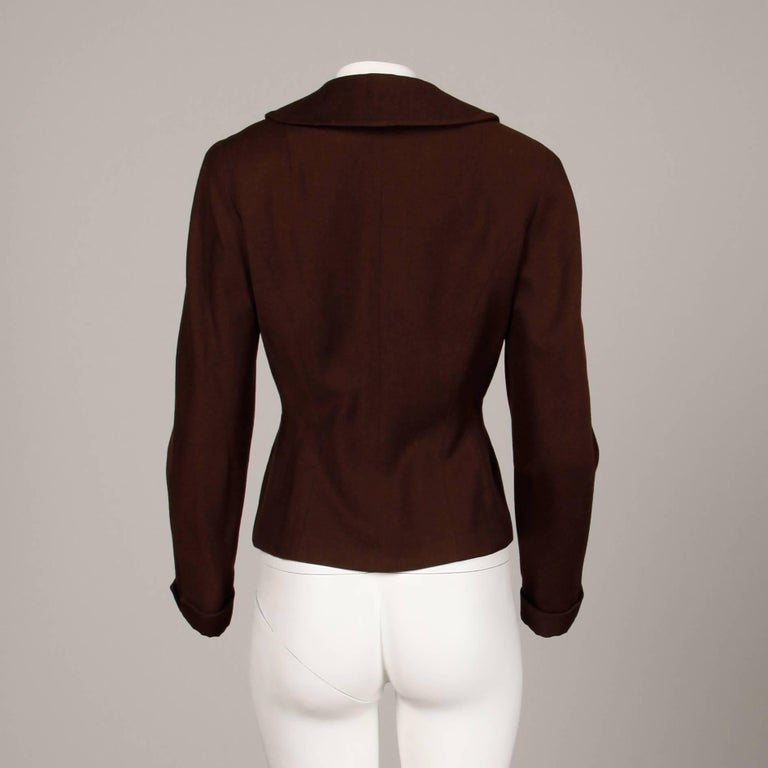 1950s Cari Colette Vintage New Look Brown Wool Tailored Jacket In Excellent Condition For Sale In Sparks, NV