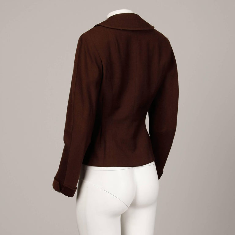 1950s Cari Colette Vintage New Look Brown Wool Tailored Jacket For Sale 1