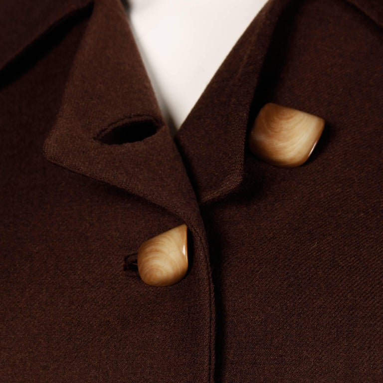 Women's 1950s Cari Colette Vintage New Look Brown Wool Tailored Jacket For Sale
