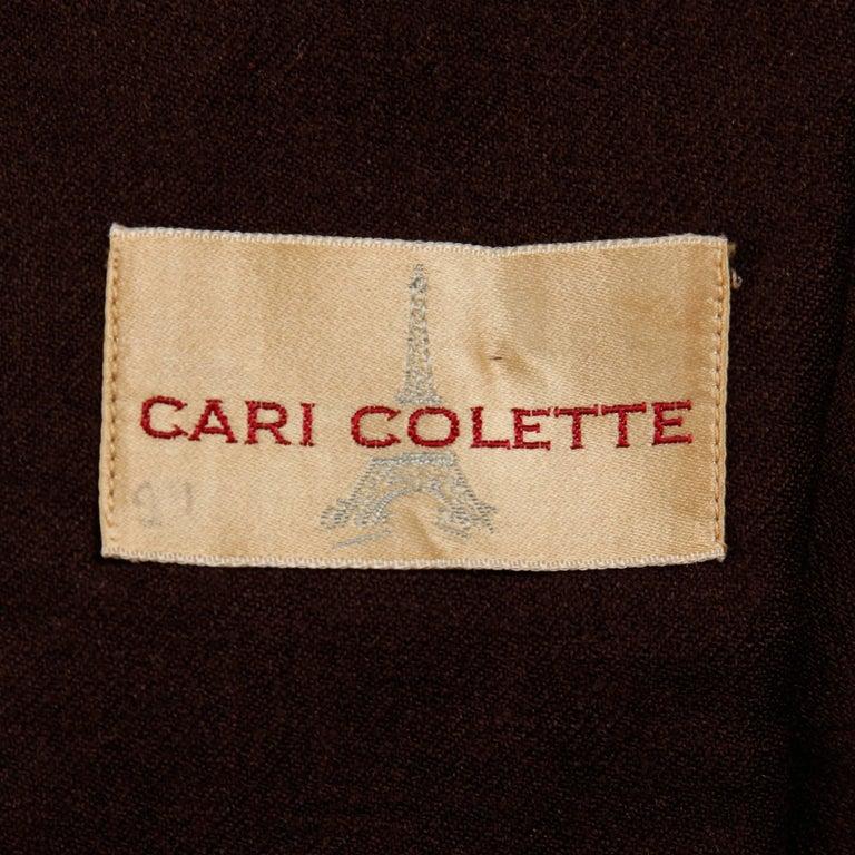 Black 1950s Cari Colette Vintage New Look Brown Wool Tailored Jacket For Sale