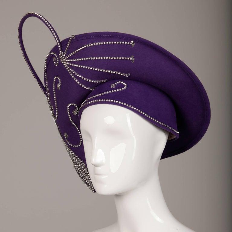 George Zamau'l Vintage Avant Garde Purple Rhinestone Wool Hat Unworn with Tags  For Sale 1