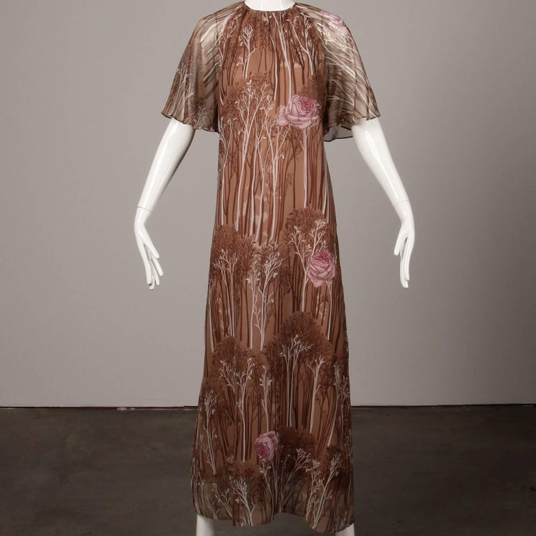 1970s Hanae Mori Vintage Flower + Tree Print Maxi Dress with Flutter Sleeves For Sale 2