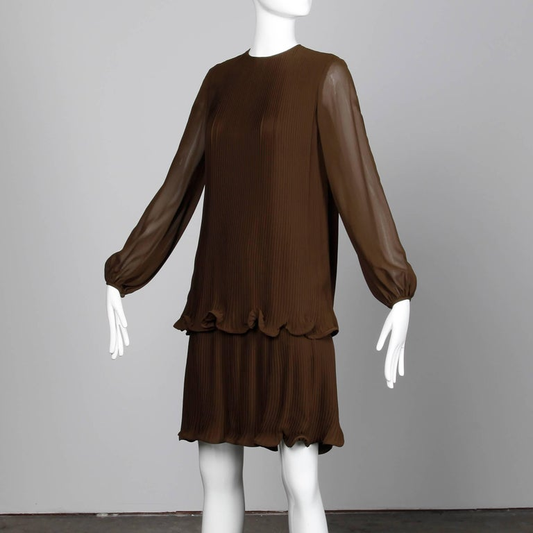 Stunning 1970s Pierre Cardin Vintage Brown Silk Pleated Drop Waist Dress In Excellent Condition For Sale In Sparks, NV