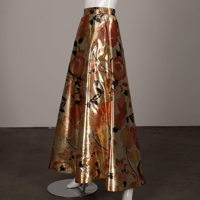 1970s Arnold Scaasi Vintage Metallic Gold Lamé Silk Dress/ Gown (Skirt + Top) For Sale 5