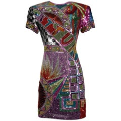 1980s Naeem Khan Vintage Heavily Beaded + Sequin Sparkling Silk Dress