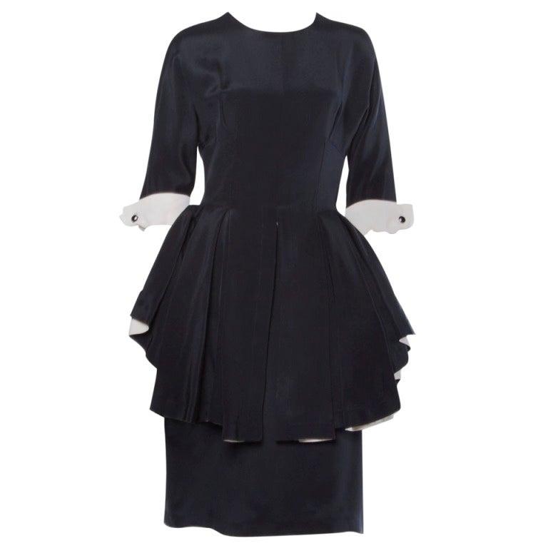 Bernard Perris Paris Vintage Stunning Black and Off White Silk Peplum Dress