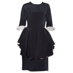 Bernard Perris Paris Vintage Stunning Black and Off White Silk Peplum Dress